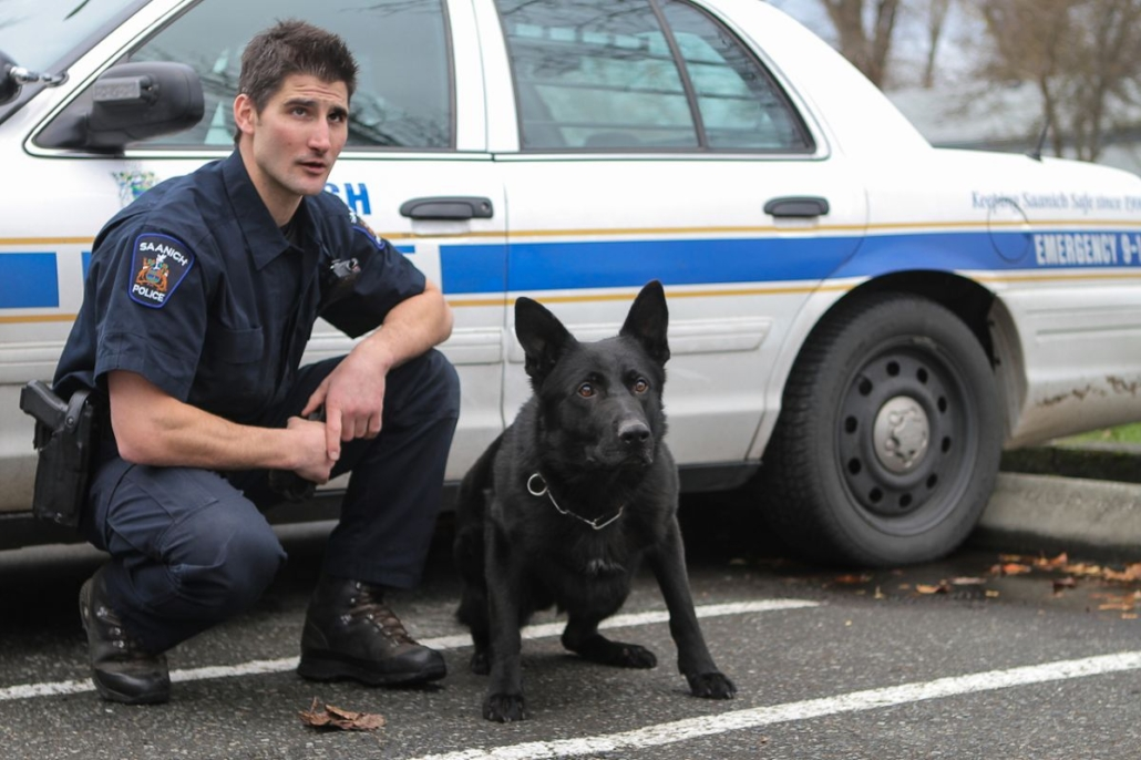 Saanich police with k-9